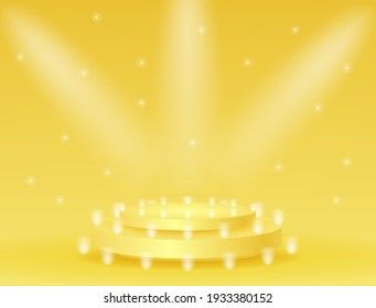Abstract podium with lighting gold color on a yellow background. Podium stage for an award ceremony or performance by an artist. Stock vector illustration.