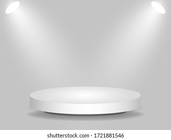 Abstract podium with lighting white color on a gray background. Podium stage for an award ceremony or performance by an artist. Stock vector illustration.