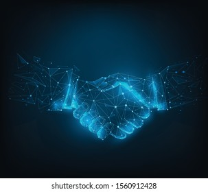 Abstract poly line and point agreement handshake on blue dark blue background. Hands link internet  connection. Business success concept. Vector illustration in flat design.