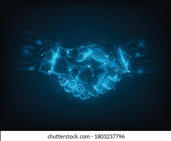 Abstract poly line and point agreement handshake. Business success concept. isolated on blue dark blue background. Vector illustration in flat design.