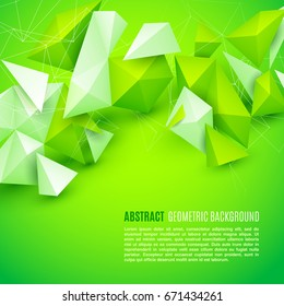 Abstract polygon 3d shapes and mesh grid on bright green background