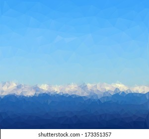 Abstract polygon background with mountain landscape and sky