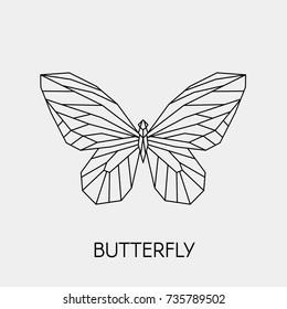 7a37dd24e Abstract polygon butterfly. Vector. Black geometric outline of a butterfly.
