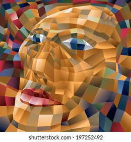 Abstract Polygon Face, Unique art, Quads (vector Art)