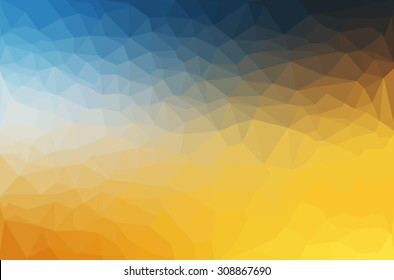 Abstract polygon geometric background Yellow and Blue. Vector illustration