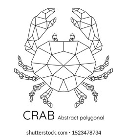 Abstract Polygon geometric crab. Animal linear isolated vector illustration.