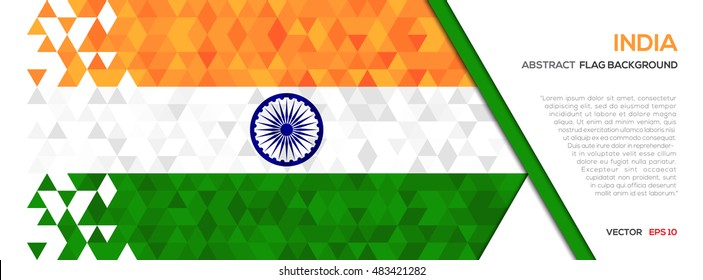 Abstract polygon Geometric Shape background.India flag