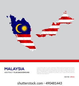 Abstract polygon Geometric Shape background.Malaysia map and flag