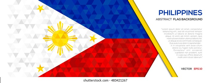 Abstract polygon Geometric Shape background.Philippines flag