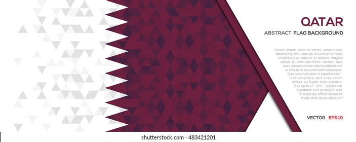 Abstract polygon Geometric Shape background.Qatar flag