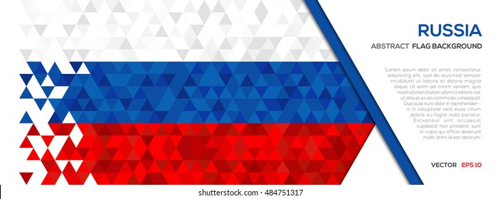 Abstract polygon Geometric Shape background.Russia flag