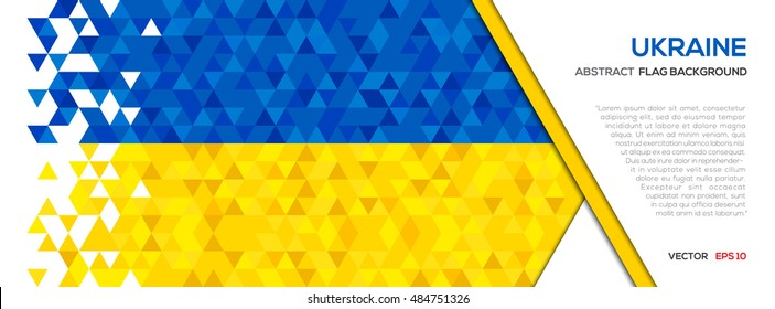 Abstract polygon Geometric Shape background.Ukraine flag