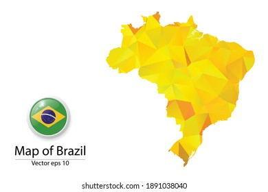 Abstract Polygon Map and Button Flag - Vector illustration Low Poly Color Yellow Brazil map of isolated. Vector eps10.