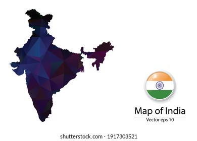 Abstract Polygon Map and Button Flag - Vector illustration Low Poly Color Dark India map of isolated. Vector eps10.