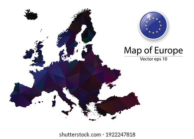 Abstract Polygon Map and Button Flag - Vector illustration Low Poly Color Dark Europe map of isolated. Vector eps10.