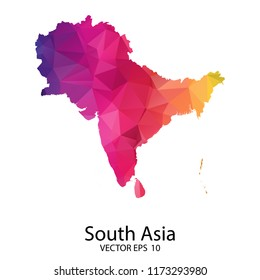 Abstract Polygon Map - Vector illustration Low Poly Color Rainbow South Asia map of isolated. Vector eps10.