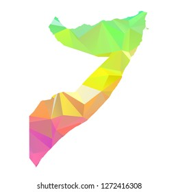 Abstract Polygon Map - Vector illustration Low Poly Colorful Somali map of isolated. Vector Illustration eps10.