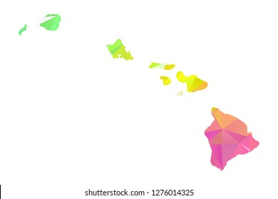 Abstract Polygon Map - Vector illustration Low Poly Colorful Hawaii map of isolated. Vector Illustration eps10.