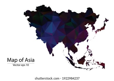 Abstract Polygon Map - Vector illustration Low Poly Color Dark Asia map of isolated. Vector eps10.
