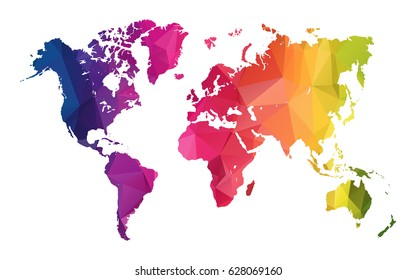 Abstract Polygon Map - Vector illustration Low Poly Color Rainbow World map of  isolated. Vector Illustration eps10.