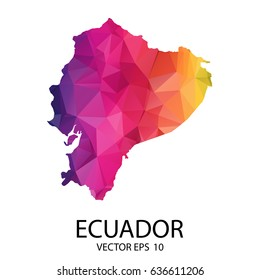 Abstract Polygon Map - Vector illustration Low Poly Color Rainbow Ecuador map of isolated. Vector Illustration eps10.