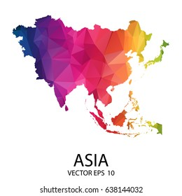 Abstract Polygon Map - Vector illustration Low Poly Color Rainbow Asia map of isolated. Vector eps10.
