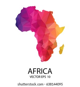 Abstract Polygon Map - Vector illustration Low Poly Color Rainbow Africa map of isolated. Vector Eps 10.