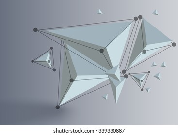 Abstract polygonal 3d elemnt with dots and lines .Polygons connection with realistic shadow . Concept illustration for business or science.