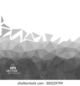 Abstract polygonal background, black and white vector.
