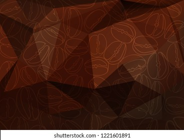 Abstract polygonal background with coffee beans. Coffee color background. Design element for cafe menu or banners.