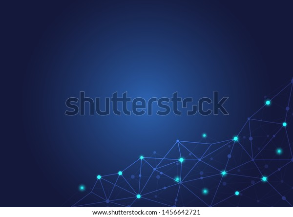 Abstract polygonal background with connected dots and lines.concept of digital Internet connection technology,abstract sense of science and technology.Vector illustration eps 10.