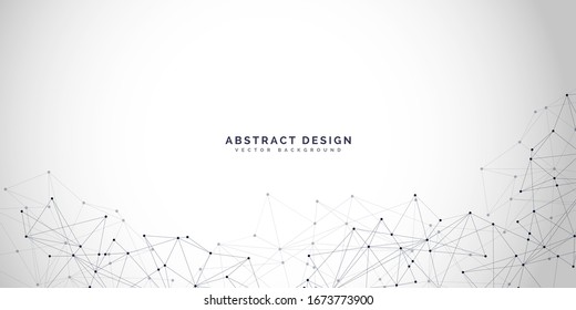 Abstract polygonal background with connecting dots and lines.Molecular structure with particles.  Vector technology background.Global network connection.