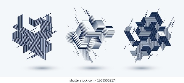 Abstract polygonal backgrounds with stripy triangles and 3D cubes vector designs set. Templates for different advertising or covers or banners. Retro style graphic elements.