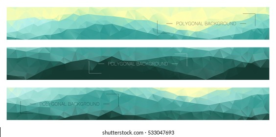 Abstract polygonal banners with mountain ridges. Modern business layouts for corporate identity. Horizontal nature backgrounds.