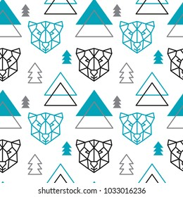Abstract polygonal bear, mountain and forest seamless pattern background. Geometric scandinavian style.