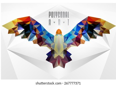 Abstract polygonal bird. Geometric illustration. . low poly poster