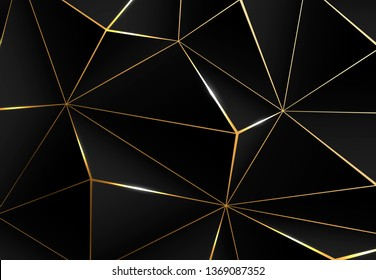 Abstract polygonal black background. Modern design with geometric planes and shimmering gold contour