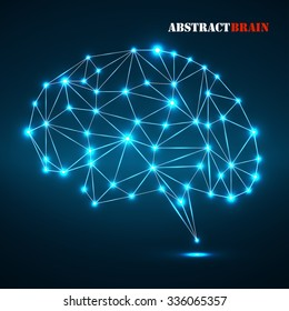 Abstract polygonal brain with glowing dots and lines, network connections. Vector illustration. Eps 10