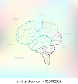 Abstract polygonal brain Line lobes on the mash blurred background
