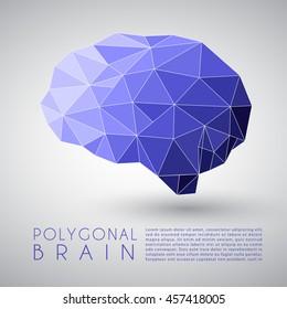 Abstract Polygonal Brain Shape : Vector Illustration