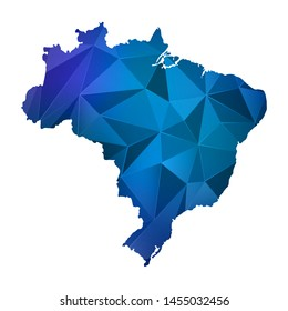 Abstract polygonal Brazil map. Vector low poly color blue map geometric shape texture. Vector illustration.