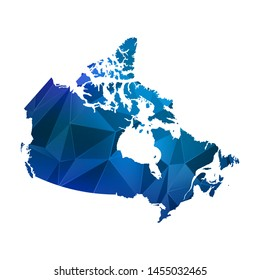 Abstract polygonal Canada map. Vector low poly color blue map geometric shape texture. Vector illustration.