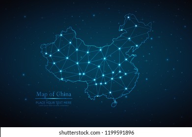 Abstract polygonal China map on dark background with glowing dot, line, design sphere, and structure. Wire frame 3D mesh polygonal network connections. Vector illustration eps 10.