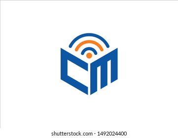 Abstract polygonal CM Logo, CM letter logo, polygonal CM with WiFi Logo sing and Symbol