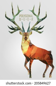 Abstract polygonal deer. Geometric hipster illustration. Polygonal antlers.