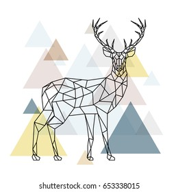 Abstract polygonal deer. Geometric hipster illustration. Reindeer with side view. Scandinavian style. Vector illustration.