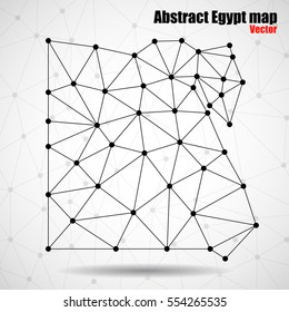 Abstract polygonal Egypt map with dots and lines, network connections, vector illustration, eps 10