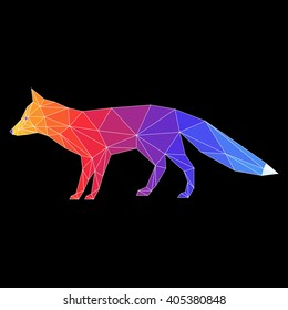 Abstract polygonal fox. Geometric triangle low poly fox painted in imaginary rainbow colors for card, invitation, book, placard, banner cover.  Wildlife, forest animals, nature theme. Fox icon.