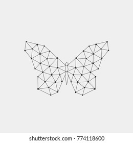 Abstract polygonal geometric butterfly, connection dots and lines. Vector.