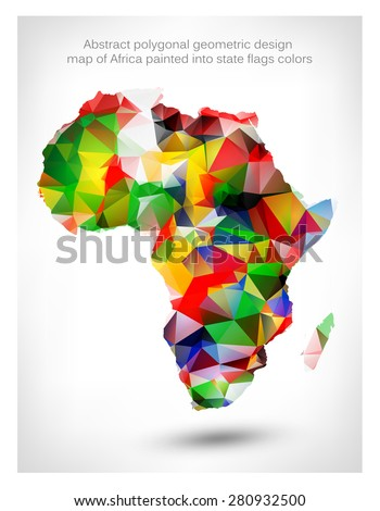 Map Of Africa With Flags.Abstract Polygonal Geometric Design Map Africa Stock Vector Royalty